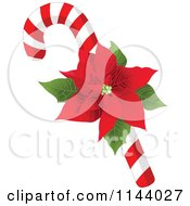 Cartoon Of A Christmas Peppermint Candy Cane With A Poinsettia Royalty Free Vector Clipart