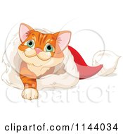 Cartoon Of A Cute Ginger Kitten Playing In A Santa Hat Royalty Free Vector Clipart
