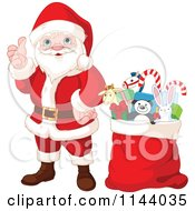 Cartoon Of A Happy Santa Holding A Thumb Up By A Toy Stuffed Sack Royalty Free Vector Clipart