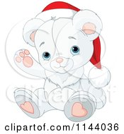 Cartoon Of A Cute Christmas Teddy Polar Bear Waving And Wearing A Santa Hat Royalty Free Vector Clipart