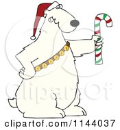 Cartoon Of A Christmas Polar Bear Holding A Candy Cane And Wearing A Santa Hat And Bells Royalty Free Vector Clipart