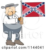 Cartoon Of A Southern Man Holding A Confederate Flag Royalty Free Vector Clipart by djart