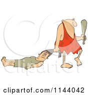 Cartoon Of A Abusive Caveman Dragging A Battered Woman By Her Hair Royalty Free Vector Clipart