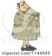 Cartoon Of A Flasher Man Holding Onto His Coat Royalty Free Vector Clipart
