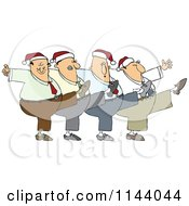 Cartoon Of A Chorus Line Of Men Wearing Santa Hats And Dancing The Can Can Royalty Free Vector Clipart