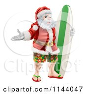 Clipart Of A Summer Santa With Shorts Sandals And A Surf Board Royalty Free Vector Illustration by AtStockIllustration