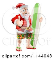 Clipart Of A Thumb Up Summer Santa With Shorts Sandals And A Surf Board Royalty Free Vector Illustration by AtStockIllustration