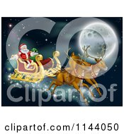 Clipart Of Santas Magic Reindeer And Sleigh Flying Near The Moon On Christmas Eve Royalty Free Vector Illustration