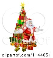 Clipart Of A Welcoming Santa Standing In Front Of A Stack Of Presents Royalty Free Vector Illustration