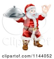 Clipart Of Santa Gesturing Ok And Holding A Cloche Royalty Free Vector Illustration
