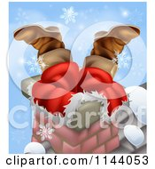 Clipart Of Santas Legs Sticking Out From A Chimney With Snowflakes Royalty Free Vector Illustration