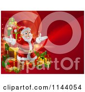 Clipart Of A Red Christmas Background With Santa And A Tower Of Presents Royalty Free Vector Illustration
