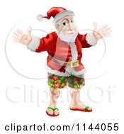 Clipart Of A Happy Santa Wearing Bermuda Shorts And Sandals Royalty Free Vector Illustration