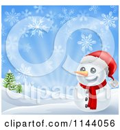 Clipart Of A Happy Christmas Snowman Smiling With Hills And Snowflakes Royalty Free Vector Illustration by AtStockIllustration