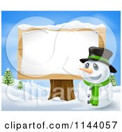Clipart Of A Happy Christmas Snowman In A Top Hat By A Wood Sign Post Royalty Free Vector Illustration