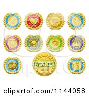 Clipart Of Colorful Winner And Product Medals Royalty Free Vector Illustration by AtStockIllustration