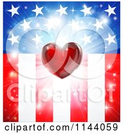 Clipart Of A Red Heart And Burst Over American Stars And Stripes Flag Royalty Free Vector Illustration