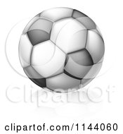 Clipart Of A Black And White Soccer Ball And Reflection Royalty Free Vector Illustration by AtStockIllustration