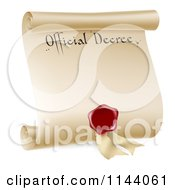 Paper Scroll Official Decree And Red Wax Seal