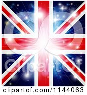 Clipart Of A Union Jack Flag Background With Flares And A Burst Royalty Free Vector Illustration