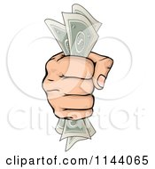 Clipart Of A Hand Clenching Cash Money In A Fist Royalty Free Vector Illustration by AtStockIllustration