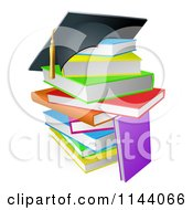 Clipart Of A Graduation Cap On A Stack Of Colorful School Books Royalty Free Vector Illustration by AtStockIllustration