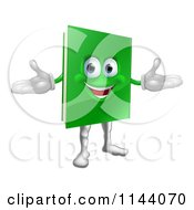 Clipart Of A Happy Green Book Mascot Royalty Free Vector Illustration