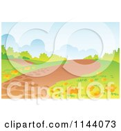 Hilly Path Landscape Background