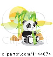 Cartoon Of A Cute Panda Eating In Front Of Bamboo Royalty Free Vector Clipart by YUHAIZAN YUNUS