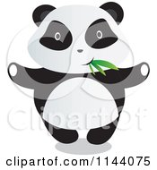 Cartoon Of A Cute Panda With Bamboo Leaves In His Mouth Royalty Free Vector Clipart by YUHAIZAN YUNUS