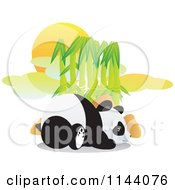 Cartoon Of A Cute Panda Resting In Front Of Bamboo Royalty Free Vector Clipart by YUHAIZAN YUNUS