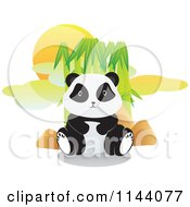 Cartoon Of A Cute Panda Sitting In Front Of Bamboo Royalty Free Vector Clipart by YUHAIZAN YUNUS