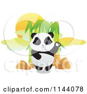 Cartoon Of A Cute Panda Waving By Bamboo Royalty Free Vector Clipart by YUHAIZAN YUNUS