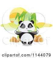 Cartoon Of A Cute Panda Standing And Eating Bamboo Royalty Free Vector Clipart by YUHAIZAN YUNUS