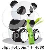 Cartoon Of A Cute Panda With A Large Bamboo Stalk Royalty Free Vector Clipart by YUHAIZAN YUNUS