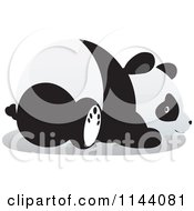 Cartoon Of A Cute Panda Resting On Its Belly Royalty Free Vector Clipart by YUHAIZAN YUNUS