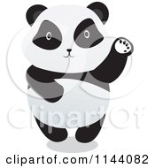 Cartoon Of A Cute Panda Standing And Waving Royalty Free Vector Clipart
