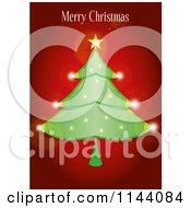 Clipart Of A Merry Christmas Greeting Over A Sparkly Tree On Red Royalty Free Vector Illustration