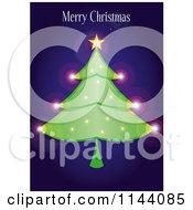 Clipart Of A Merry Christmas Greeting Over A Sparkly Tree On Blue Royalty Free Vector Illustration