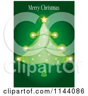 Clipart Of A Merry Christmas Greeting Over A Sparkly Tree On Green Royalty Free Vector Illustration