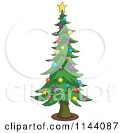 Cartoon Of A Tall Christmas Tree With Star And Bauble Ornaments Royalty Free Vector Clipart by yayayoyo