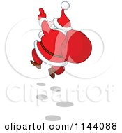 Santa Cheerfully Skipping With A Sack