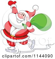 Cartoon Of Santa Cheerfully Ice Skating With A Sack Over His Shoulder Royalty Free Vector Clipart by yayayoyo