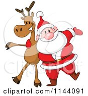 Cartoon Of Santa With A Cheerful Reindeer Royalty Free Vector Clipart by yayayoyo