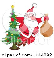Cartoon Of Santa Swinging Around A Christmas Tree Royalty Free Vector Clipart by yayayoyo