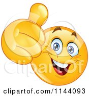 Cartoon Of A Happy Emoticon Smiley Holding A Thumb Up Royalty Free Vector Clipart by yayayoyo #COLLC1144093-0157