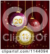 Clipart Of 3d Mosaic Bingo New Year 2013 Baubles Suspended Over Red Silk With Gold Stars Royalty Free Vector Illustration by elaineitalia