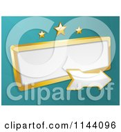 Clipart Of A Gold Retro Sign And Arrow With Stars On Turquoise Royalty Free Vector Illustration