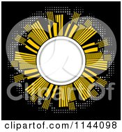 Clipart Of An Illuminated City Of Skyscrapers Around A Globe On Black Royalty Free Vector Illustration