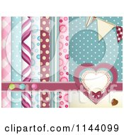 Clipart Of A Scrapbooking Background Of Layered Papers Hearts Banners And Buttons Royalty Free Vector Illustration by elaineitalia